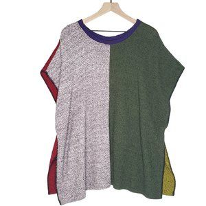 Margaret Winters Color Block Sweater Poncho OS